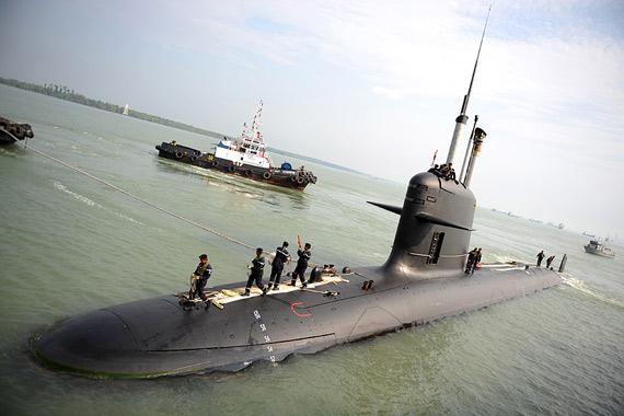 """资料图:马来西亚海军装备的新型""""�鱼""""级常规潜艇"""