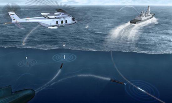 Sea Sentor反鱼雷系统工作原理示意图