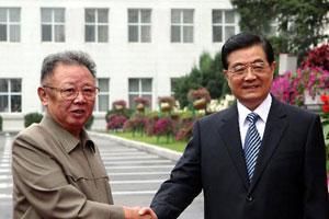 胡锦涛在吉林省长春市同金正日举行会谈
