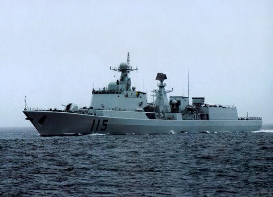 资料图:中国海军051C级115号导弹驱逐舰海上航行
