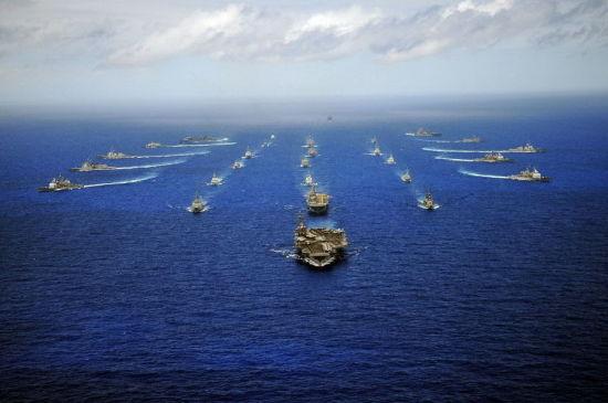 资料图:美国多次拉拢别国组织环太平洋联合军演。