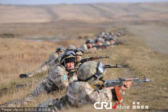 资料图:集安组织快速反应部队在俄罗斯境内演习