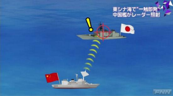 日媒制作的所谓中国军舰锁定日军舰示意图。