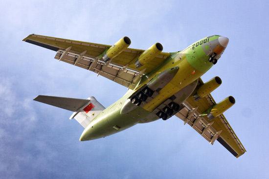 资料图片:1月26日,运-20大型运输机在进行试飞。新华社发(陈肖 摄)