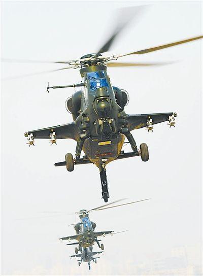 济南军区某陆航团武直十机群出动
