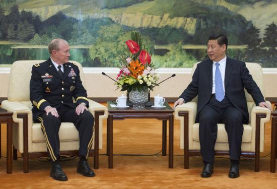 4月23日,中国国家主席、中央军委主席习近平在北京会见美军参谋长联席会议主席登普西。 新华社记者 谢环驰摄