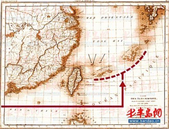 法国1809年绘制的以台湾为中心的东中国海沿岸图,图中标出钓鱼岛及其附属岛屿为台湾附属岛屿。