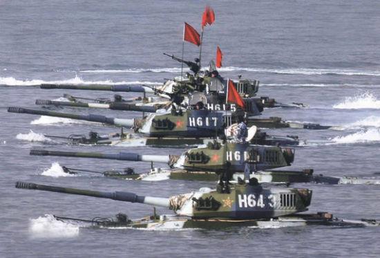 解放军海军陆战队大量装备63A两栖坦克