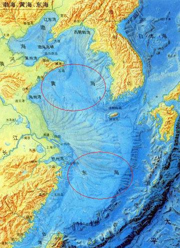 中国黄海和东海海地地形图 水深较浅