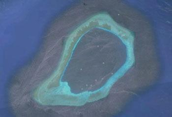 渚碧礁卫星图 机动编队曾抵达该礁巡逻