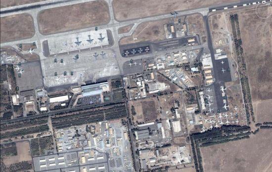 资料图:美国在吉尔吉斯坦的马纳斯空军基地的卫星图