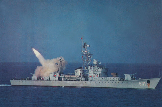 资料图:参加1988年赤瓜礁海战的中国531号导弹护卫舰