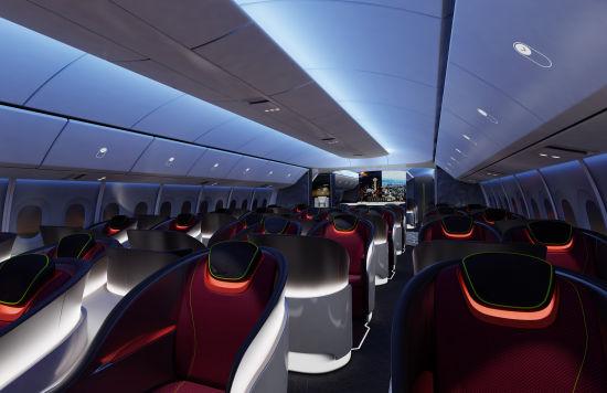 波音777X飞机客舱概念图。