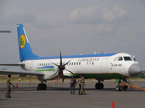 资料图:乌兹别克斯坦航空的伊尔-114飞机。