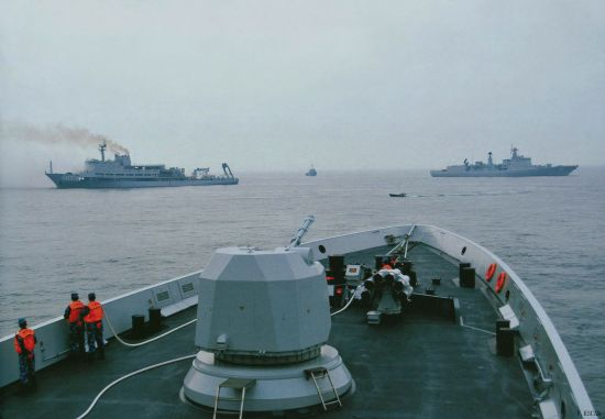 资料图:中国主力舰只上基本都装备有火箭深弹