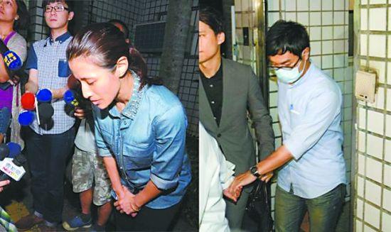 台检方侦办阿帕奇案,李�`蓉(左)及日本人平山直人(右)深夜获释。李�`蓉为此事鞠躬道歉。