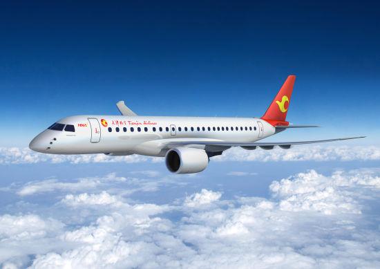 天津航空向巴航工业订购22架e-喷气系列飞机