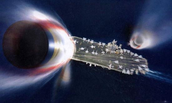 我国东风-21D反舰弹道导弹打击美国航母的想象图