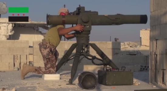"""叙利亚自由军使用了BGM-71""""陶""""式反坦克导弹,这种导弹都由美国提供"""