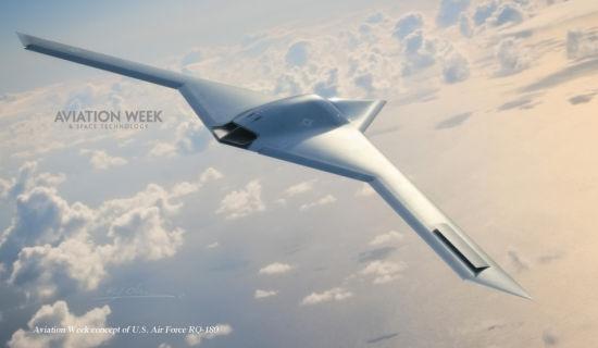 """美军又搞出新款隐身无人机叫阵中国""""利剑""""。近日,美国《航空周刊》杂志披露了位于美国51区的一款秘密无人隐形侦察机RQ-180。该无人机由诺思罗普-格鲁曼公司研发制造,可能已经投入使用多年,但公众对此并不知晓。"""