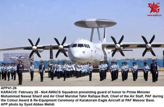 """2月26日,巴基斯坦空军隆重举行第四预警机中队ZDK-03/KE-03成军仪式。仪式在马苏尔空军基地举行,巴总统萨利夫参加仪式。巴总共订购了四架ZDK-03型预警机,该机以运-8F400军用运输机为基础研制,陕西飞机制造公司生产。巴还采购4架瑞典产萨伯-2000型""""爱立眼""""预警机。"""