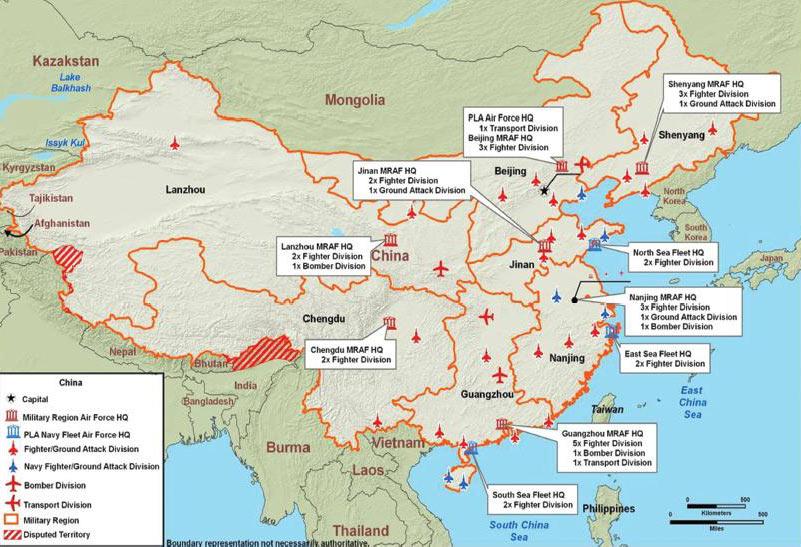 美军绘制的第一和第二岛链示意图 中国常规反介入作战能力图 中国中程