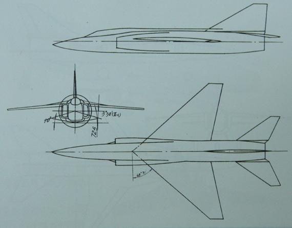 歼13-II方案,采用后掠48度31分的后掠翼