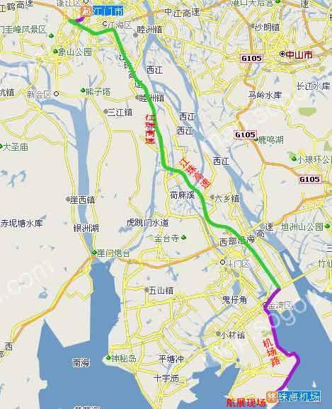 江门至航展现场(珠海机场旁)路线