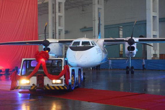 西飞新舟600支线飞机。