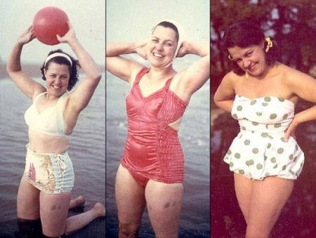 图中泳装依次为1949年款、1951年款、1956年款。