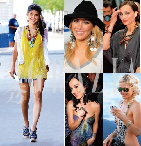 把杰西卡・斯佐尔(Jessica Szohr)的热裤换成及地长裙会更加养眼(左);希拉里・达芙(Hilary Duff);克里丝汀・斯科特・托马斯(Kristin Scott Thomas);凯蒂・佩里(Katy Perry);帕丽斯・希尔顿(Paris Hilton)(从上至下)