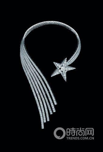 彗星系列白金镶钻石项圈