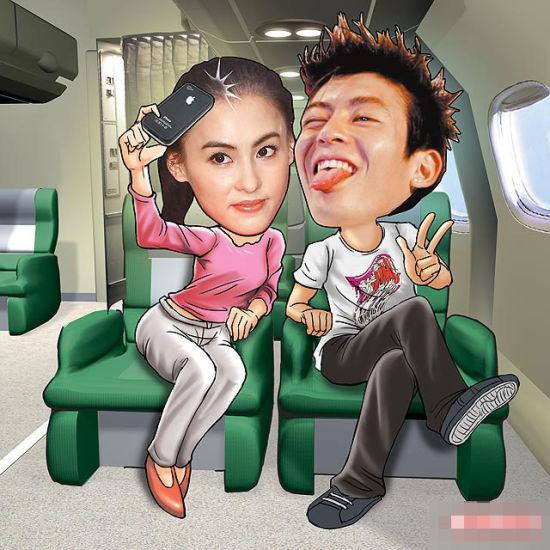 张柏芝(左)和陈冠希母亲节(5月8日)在国泰台北飞往香港的头等舱开心合照。(设计图片).