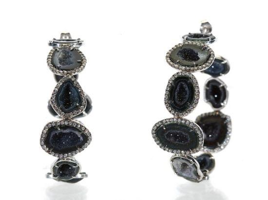 黑色宝石环形耳环