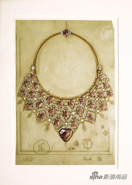 贞•杜桑时期著名黄金镶紫水晶项链设计
