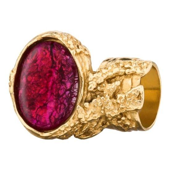 明艳粉红宝石鎏金戒指