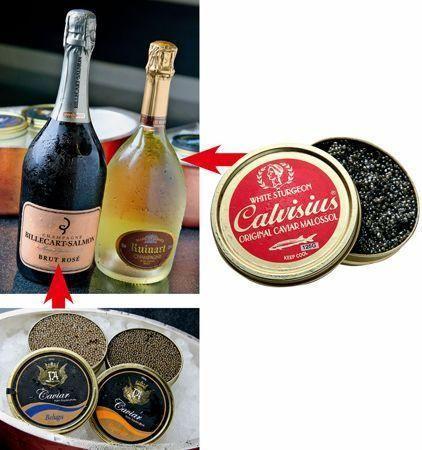 """意大利Oscietra鱼子酱,源于北美洲的西海岸白鲟鱼,味道平衡,轻度咸味,温和,after taste不长,配上法国香槟Ruinart,Blanc de Blancs的丰富果香,人""""试""""人爱。"""