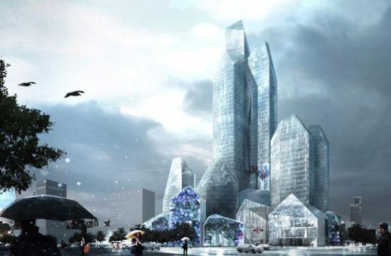 """""""冰城""""哈尔滨即将迎来新奇观,由著名建筑工作室LAVA设计的冰雪酒店,灵感来自于冰山以及石英晶体的外形和结构,与这座城市的文化背景极为贴合。"""
