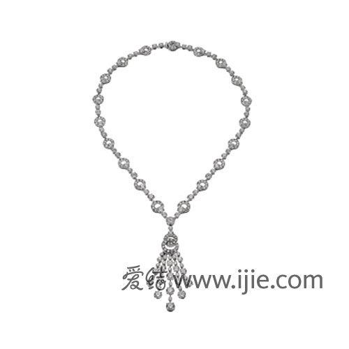 Bvlgari 18k白色K金钻石项链