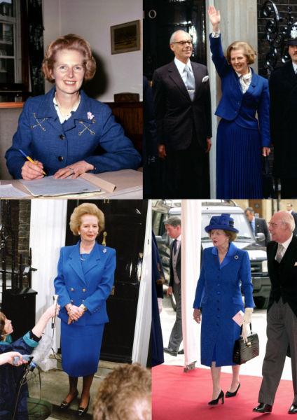 撒切尔夫人经常穿着代表保守党的蓝色