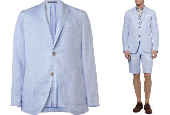 Richard James亚麻西服和短裤套装