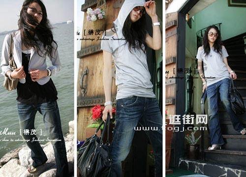 休闲的罩衫搭配大裤腿的牛仔裤让舒适升级