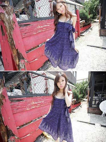 民族风的蜡染纹样与裙摆的图案相呼应