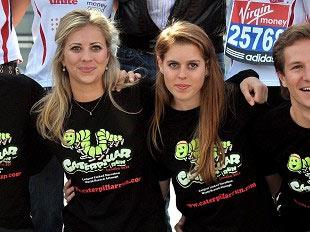 英国比特莱斯公主(中)准备参加伦敦马拉松比赛