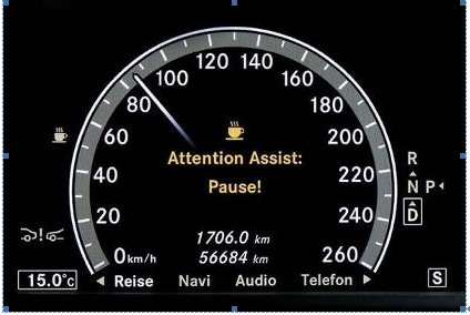 代表梅赛德斯-奔驰最新安全科技的注意力辅助系统