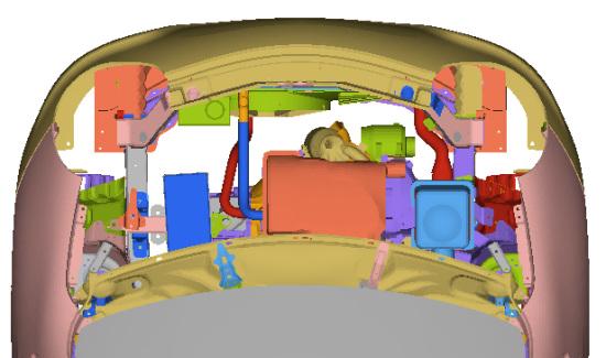 发动机舱空间布置的碰撞吸能设计