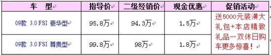 奥迪A8L优惠1.5万售价94.3万