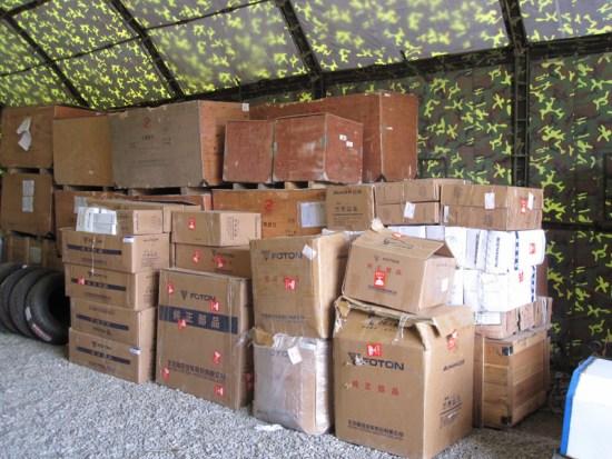 欧曼捐赠的灾区物资