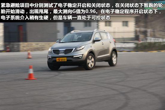 关闭电子稳定程序后进行紧急避险 车辆明显进入甩尾状态