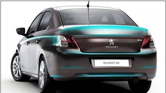 标致301的尾部设计简约,国产版将改用窗式天线